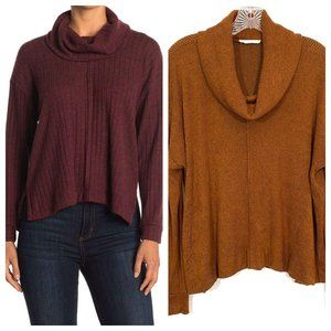 Lush Ribbed Cowl Neck Rust Color Sweater Sz Medium